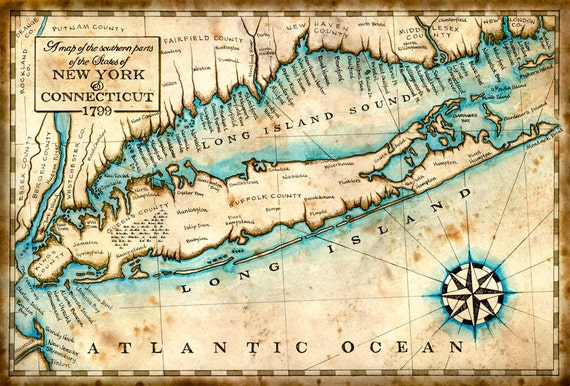 Map Of New York And Long Island.Long Island New York Map Art C 1799 11 X 17 Connecticut Map New York Map Manhattan Long Island New York Long Island Sound