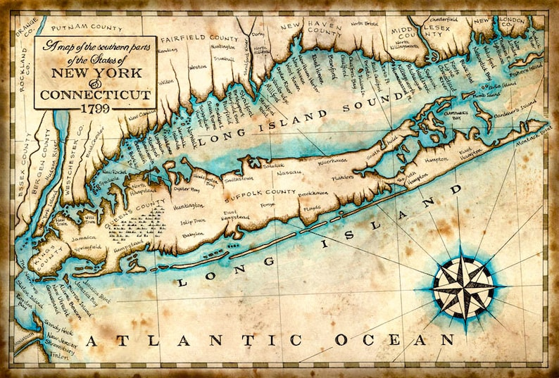 Long Island New York Map Art C 1799 11 X 17 Etsy