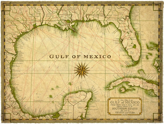 Gulf of Mexico Map Art c.1927 14\