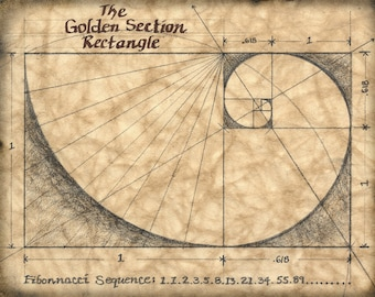 The Golden Section 11 x 14 Art Print, Mathematics, Fibonacci Sequence, The Golden Mean, Proportions, Architecture, Design, Industrial Design