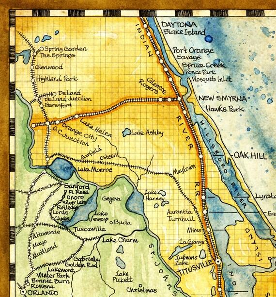 Florida Map Art Print c. 1893 on decatur florida map, toronto florida map, countryside florida map, houston florida map, barrington florida map, sharpes florida map, east palatka florida map, lincoln florida map, cecil florida map, evinston florida map, lake mary florida map, long lake florida map, lake hart florida map, hartford florida map, dona vista florida map, union park florida map, janesville florida map, fairhope florida map, st charles florida map, tampa florida map,