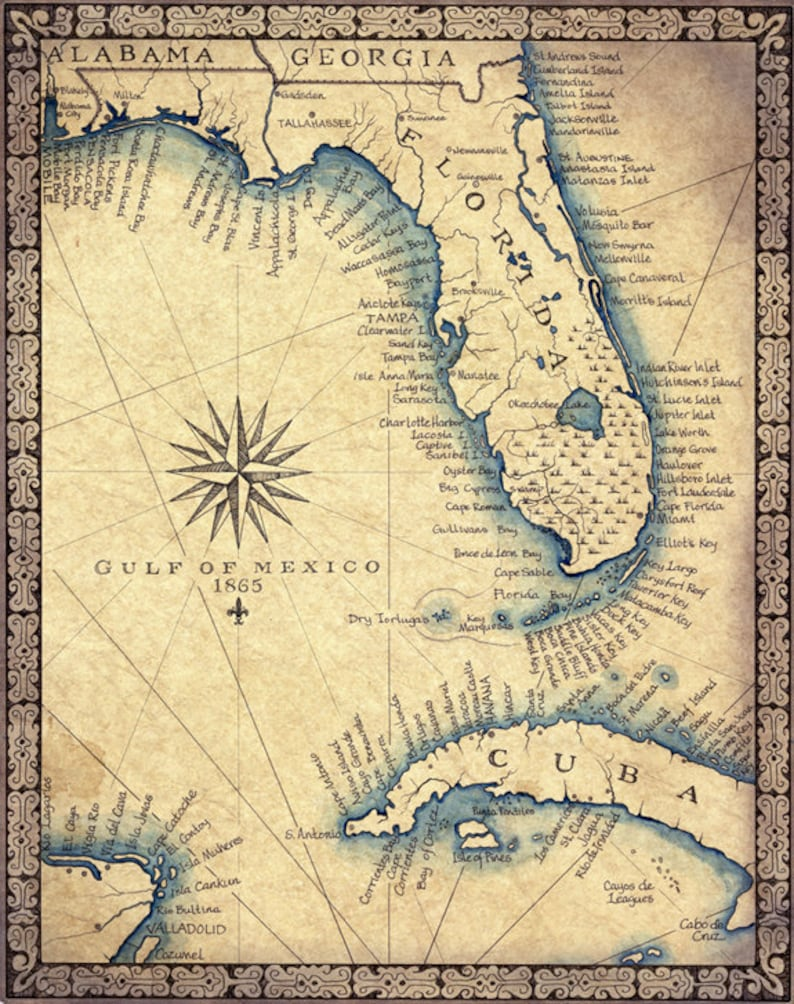 Florida Map Art Print c  1865 11