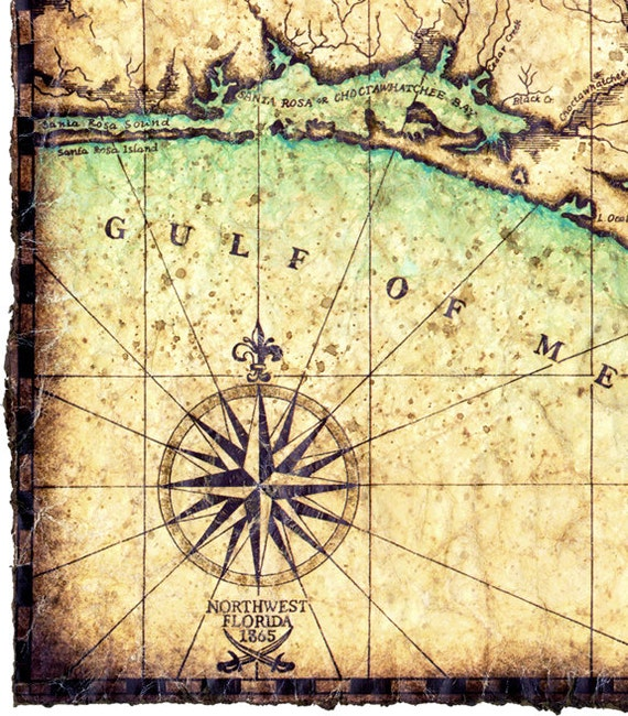 Northwest Florida Map.North West Florida Coast Map Artwork C 1865 Hand Drawn Map 11 Etsy