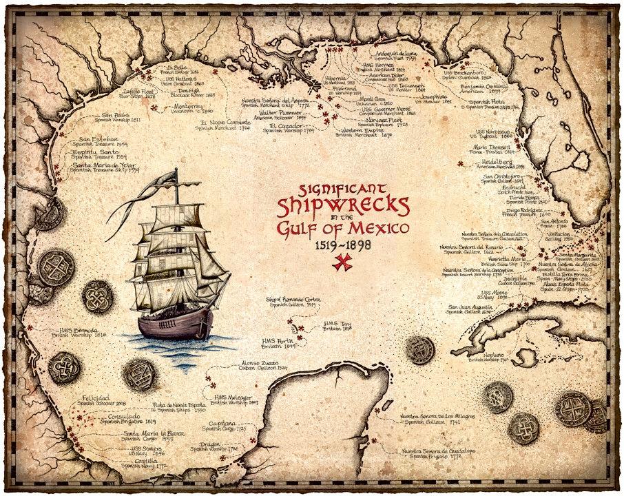 Shipwreck Map Of The Gulf Of Mexico Artwork 15 x 19, Shipwrecks, Treasure  Maps, Atocha, Key West, Shipwrecks, Shipwreck Coins, Map