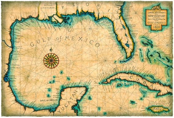Florida To Cuba Map.Gulf And Caribbean Map Art C 1800 Old Maps Cuba Florida Etsy