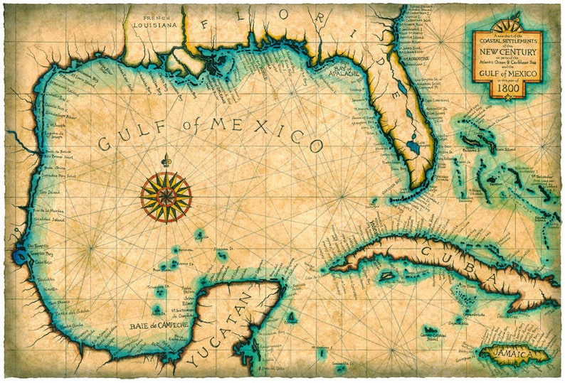 Gulf and Caribbean Map Art c. 1800 Old Maps Cuba Florida | Etsy