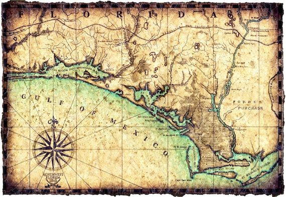 West Florida Map.North West Florida Coast Map Artwork C 1865 Hand Drawn Map 11 Etsy