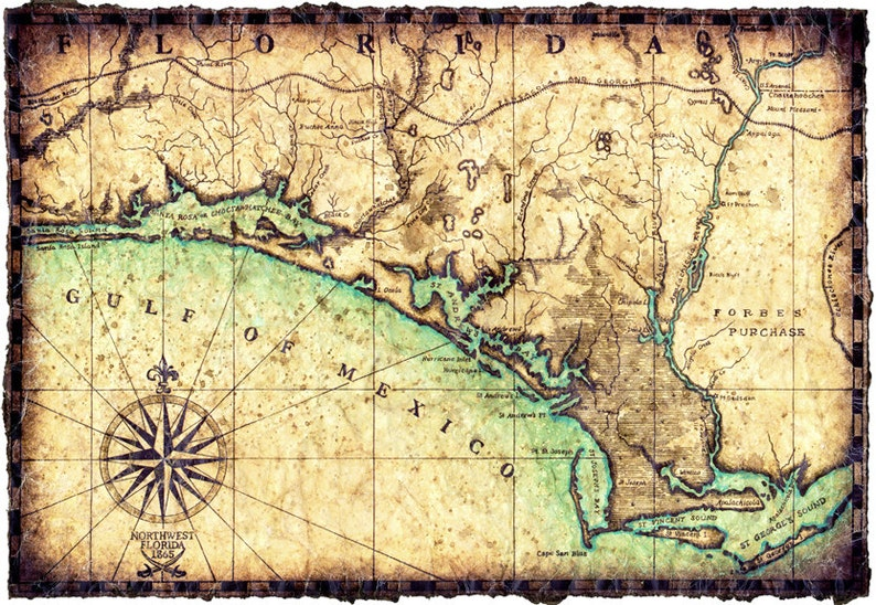 Northwest Florida Map.North West Florida Coast Map Artwork C 1865 Hand Drawn Map 11 X 16 Civil War Map Choctohatchee Bay Panama City Florida Maps Destin