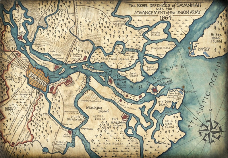Savannah Harbor Map Art C 1864 11 X 16 Hand Drawn Etsy