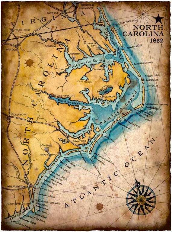 Coast Of South Carolina Map.North Carolina Coast Map Art C 1862 11 X 15 Hand Drawn Etsy