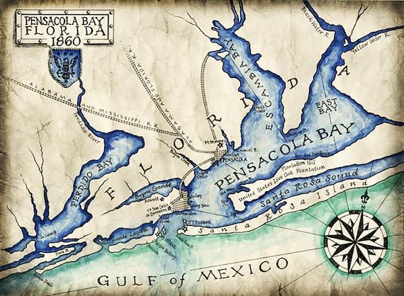Pensacola Bay Map c. 1860, Pensacola, Florida Maps, Pensacola Beach, on