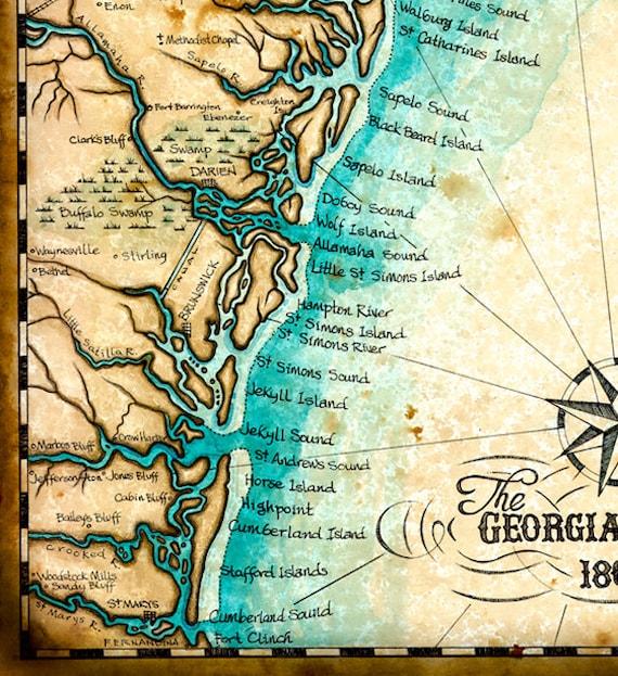Georgia Coast Map Art c. 1865, 11