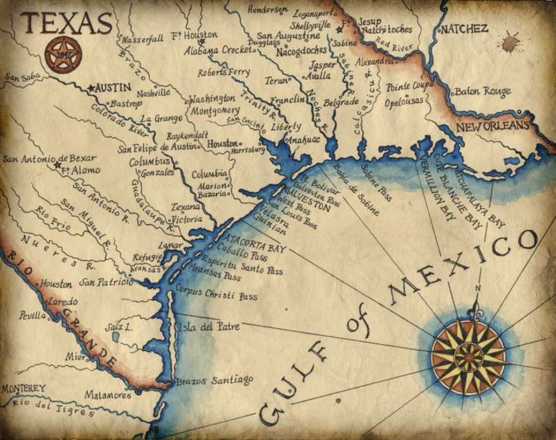 Texas Coast Map Art c.1847 11 x 14 Texas | Etsy on