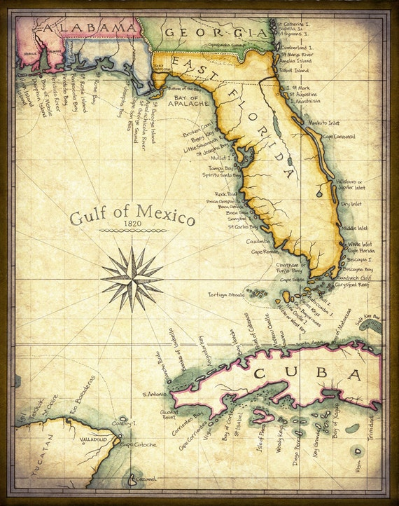 Map Of Florida Keys And Miami.Florida Map Art 1820 11 X 14 Prints From Hand Etsy