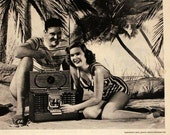 1947 Zenith Trans Oceanic Radio Ad with Tropical Vacation Scene - Wall Art - Home Decor - Short Wave - Retro Vintage Electronics Advertising