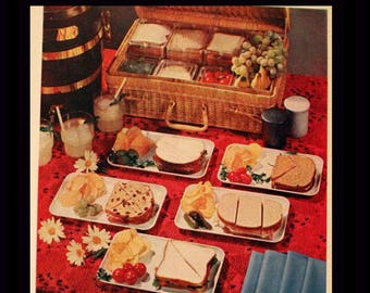 1960 A&P Grocery Store Ad with Jane Parker Bread and Picnic - Wall Art - Home Decor - Kitchen - Retro Vintage Food Advertising