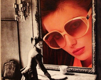 1987 Christian Dior Eyewear Ad with Sunglasses - Wall Art - Home Decor - Bath - Vanity - 80s Style - Retro Vintage Fashion Advertising