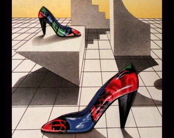 40c1d6236c7 1986 Pancaldi Shoes Ad with New Wave Design - Wall Art - Home Decor - Heels  - Shoe - Pump - Brights - Retro Vintage Fashion Advertising