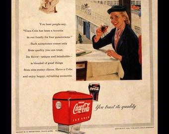 COCA COLA ADVERTISEMENT 1953 national geographic paper ephemera ad coke bottle soda pop for framing collectible vintage vtg mcm smile boy