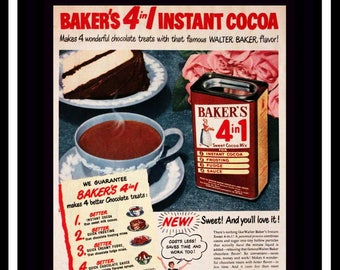 1950 Baker's 4 in 1 Instant Cocoa Mix Ad - Home Decor - Kitchen Decor - Wall Art - Hot Chocolate -  Retro Vintage Food Advertising