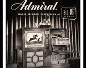 1949 Admiral Magic Mirror Console Ad - Wall Art - Home Decor - Record Player - TV - Radio - Retro Vintage Electronics Advertising