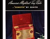 1947 Zenith Zenette Personal Radio Ad - Illustration - Wall Art - Home Decor - Portable - Retro Vintage Electronics Advertising