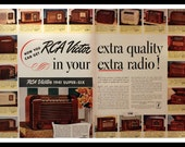 1940 RCA Victor Radio Ad - Wall Art - Home Decor - Double Page - Vintage Prices - 19 Styles - Retro Vintage Electronics Advertising
