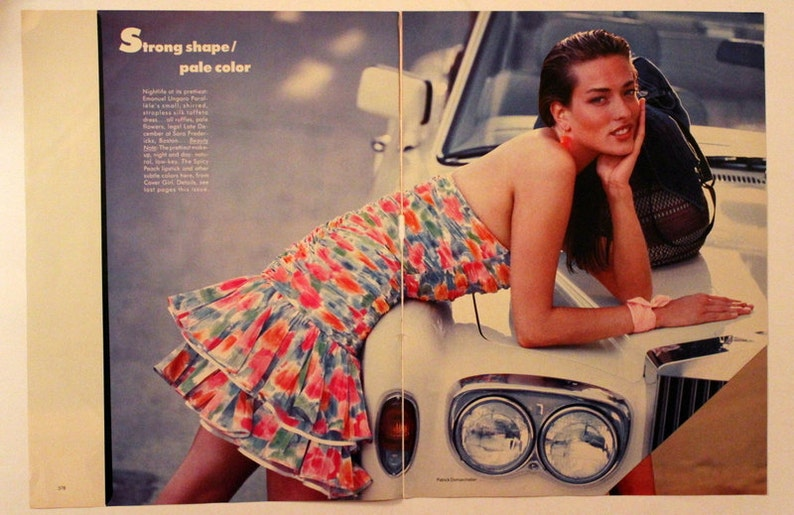 Sundress Strapless Silk Taffeta 1987 Vogue Fashion Page Double Page Brights Emanuel Ungaro Paralele Retro Vintage Advertising