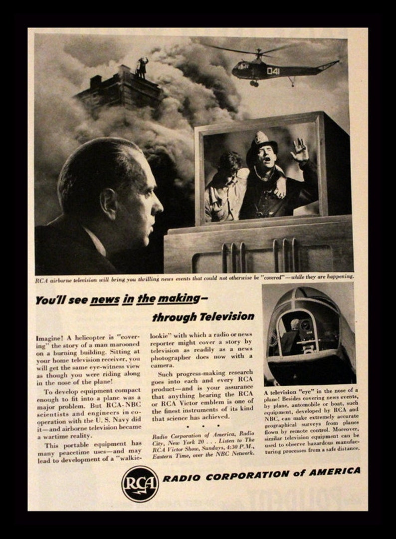 1946 RCA Television Ad with TV News Graphic - Wall Art - Home Decor - Radio  Corporation of America - Retro Vintage Electronics Advertising