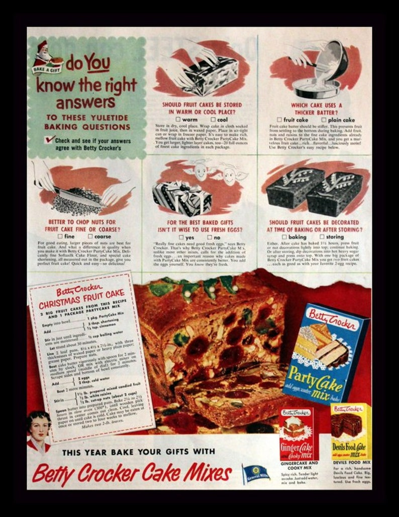 1951 Betty Crocker Christmas Fruit Cake Ad With Recipe Gift