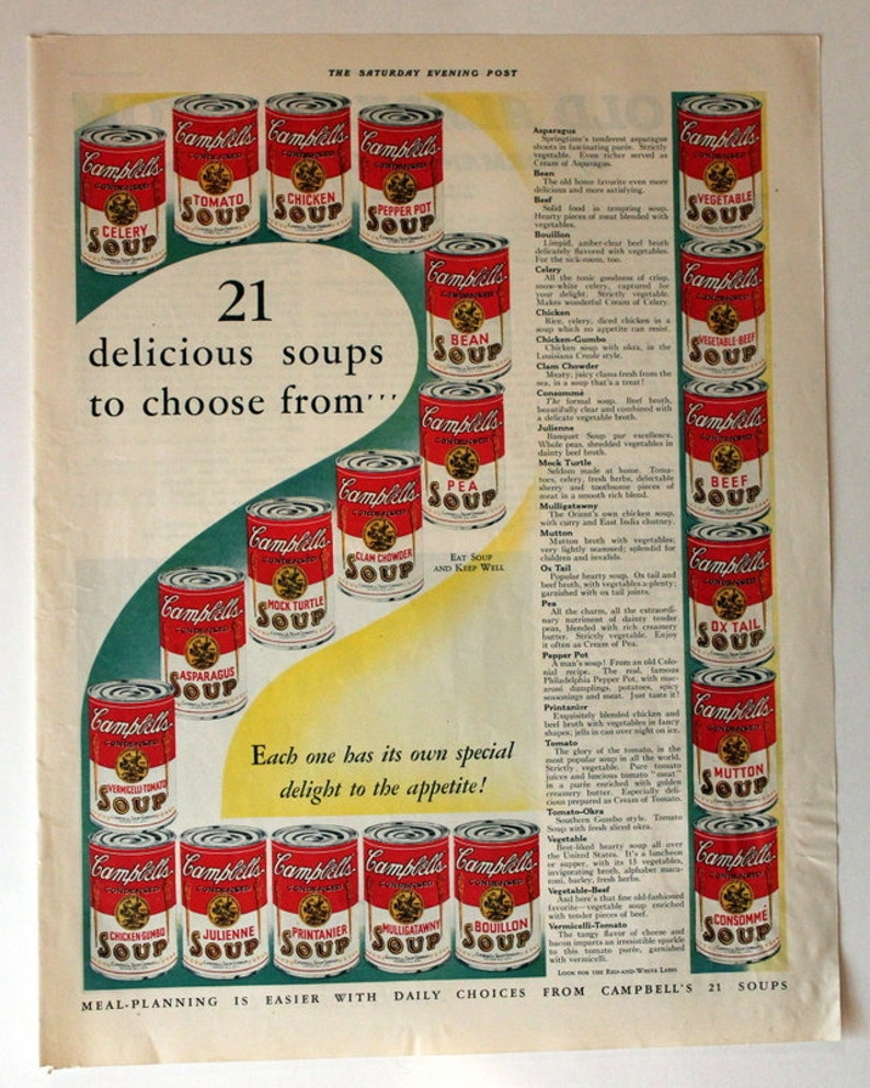 1932 campbells soup ad with vintage discontinued flavors