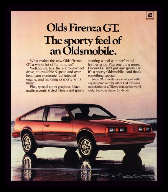 1983 Oldsmobile Firenza GT Ad Olds Sports Car 80s Wall