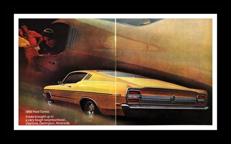 1968 - 1969 Ford Torino GT Sports Roof Ad - Wall Art - Home Decor - Muscle  Car - Yellow - Garage - Retro Vintage Car & Auto Advertising