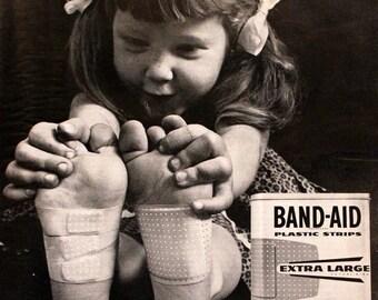 Johnsons Band Aid Ad - Retro Vintage Bath Advertising - Kids - Bandage - 1960s