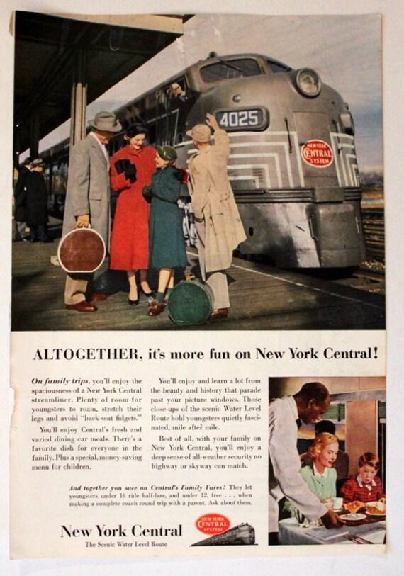 New York CENTRAL Water Level Dreamliner Railroad Train Poster Art Print 154
