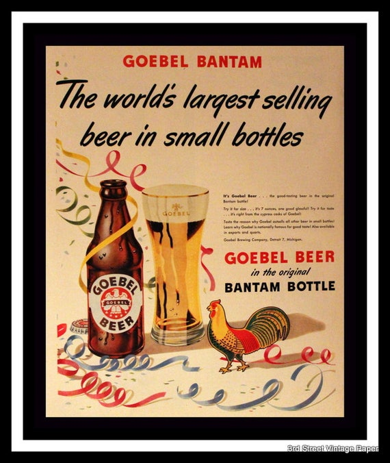 1948 Goebel Bantam Beer Ad Bantam Bottle Wall Art Home