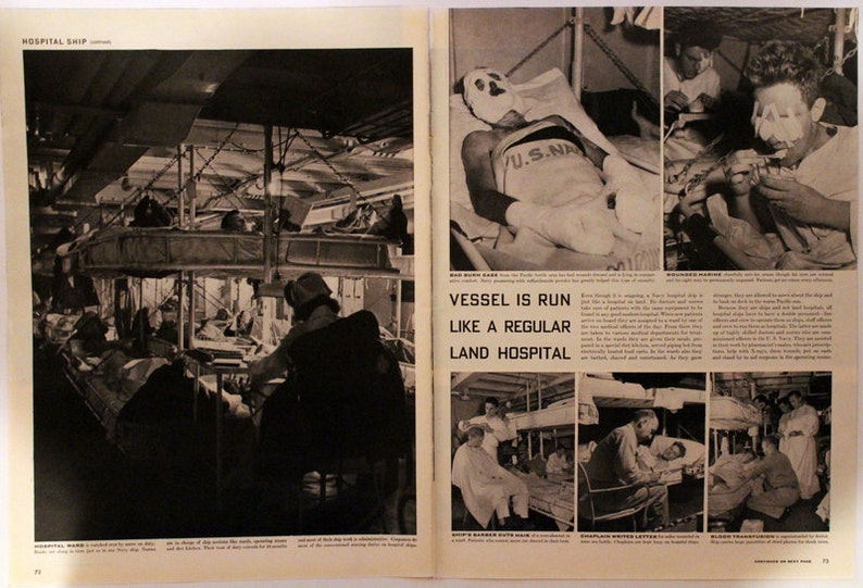 Lots of Photos Wall Art Retro Vintage Reading 7 Pages 1943 WWII Era Article on Navy Hospital Ships History Home Decor