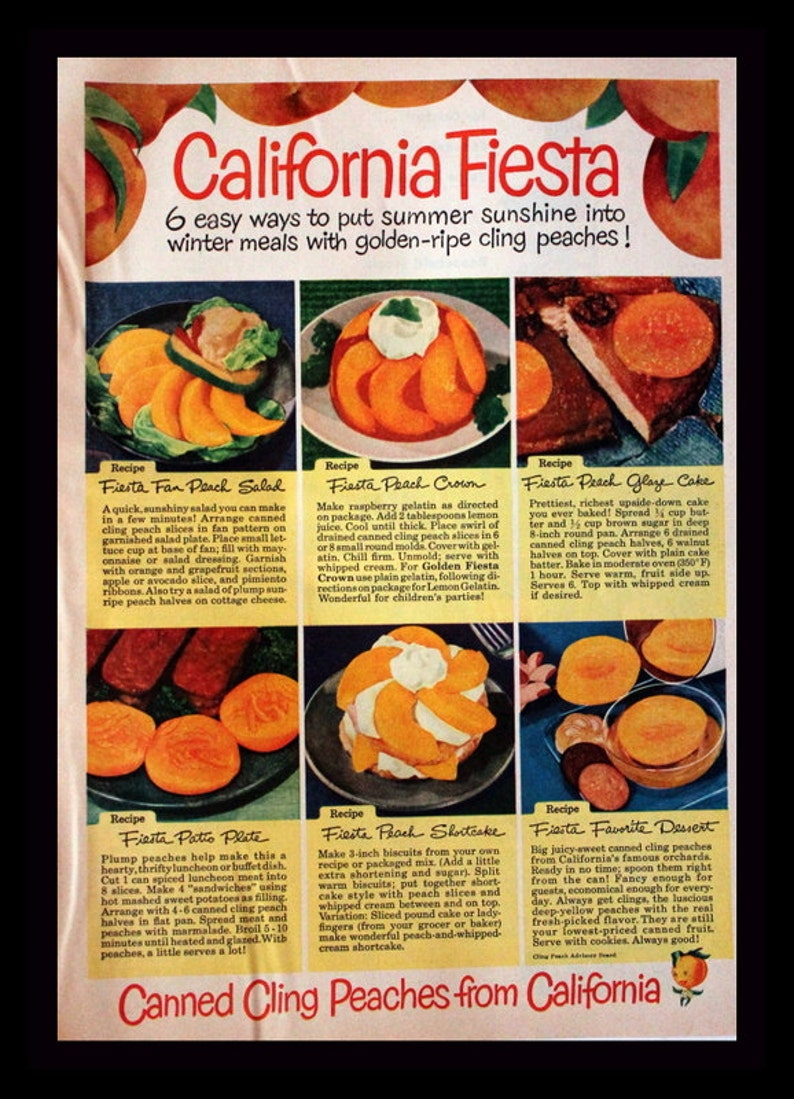 1951 California Canned Cling Peaches Ad with Recipes - Fruit - Wall Art -  Kitchen Decor - Retro Vintage Food & Drink Advertising