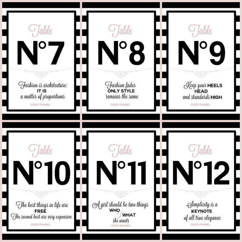 Digital PRINTABLE Table numbers #1-12 with Chanel quotes Bridal/Baby  shower/Birthday party/Sweetsixteen 16/Wedding/Paris/France/Black/Pink