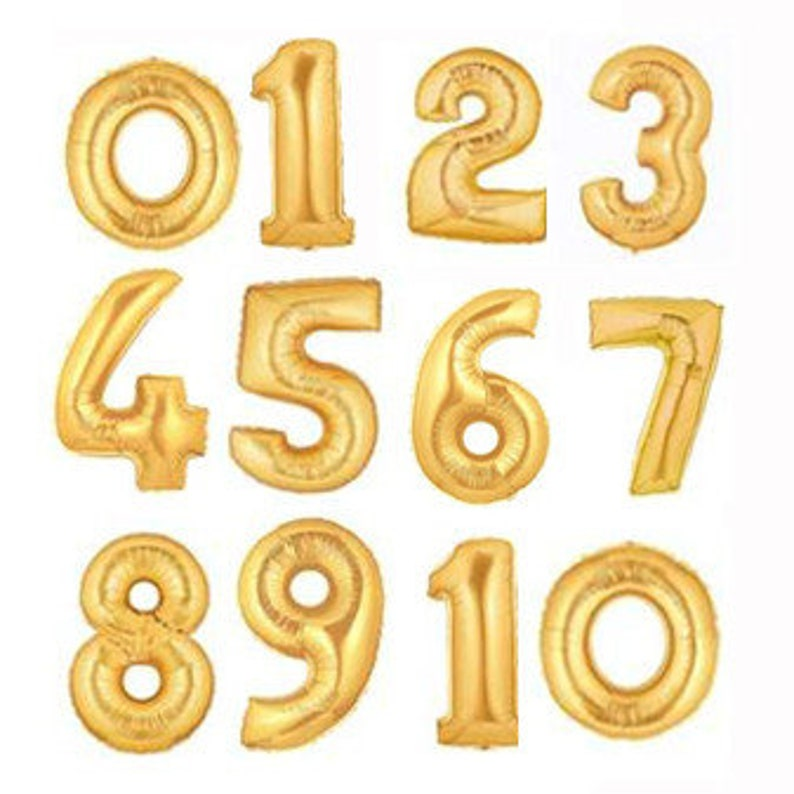 GIANT Number Balloons 40 inch Helium Balloon Gold image 0