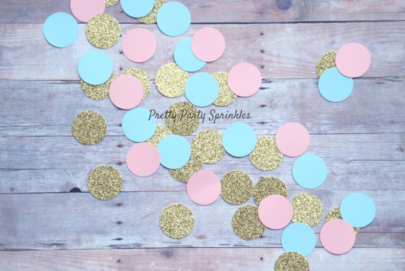 Gender Reveal Party Decor Pink Blue And Gold Confetti Table