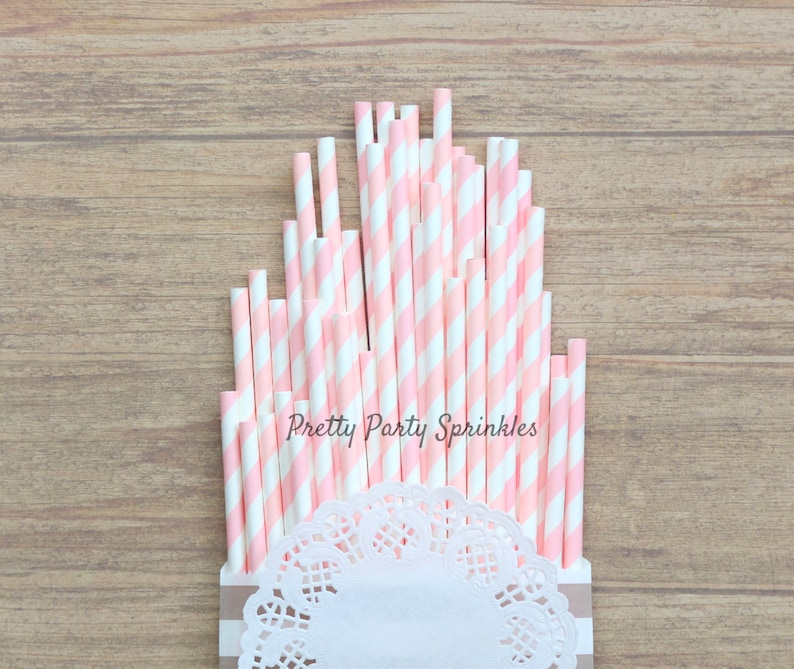 Summer Party Light Blue Disney Princess Party,Bubble Gum Baby Shower Gold Foil Striped Straws First Birthday Light Pink Gender Reveal
