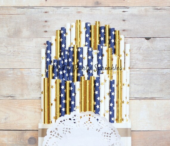New Years Eve Decor Navy, Solid Gold Foil and Star Straws, Twinkle Twinkle Little Star Baby Shower, Wish Upon A Star, Galaxy Idea,Graduation