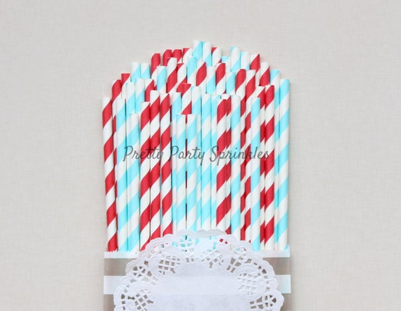 Red Light Blue Striped Straws Airplane Party Decorations