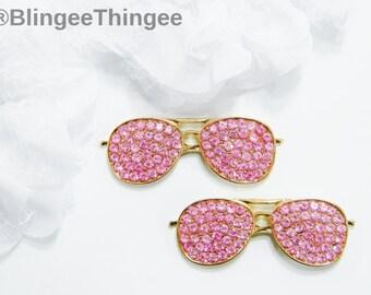 aba8d4624d4 1 Piece Light PInk Gold Alloy Flatback Rhinestone Sunglasses Embellishment  Kawaii Cabochon DIY Deco Bling Craft Supply Miniature Decoden