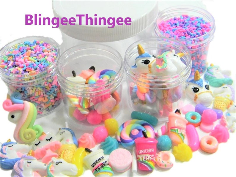 Fake Sprinkles Unicorn Slime Charms Kawaii Cabochons Containers Box Set  Flatback Resins Polymer Clay Phone Case Decoden DIY Kit