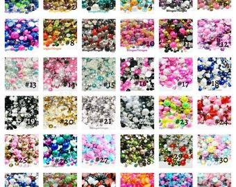 MIXES Rhinestones and Pearls Mixed 30 GRAMS Flatback Faux Half Round Pearls Resin Flatback Rhinestones Mixed Sizes Choose Color 30 Grams