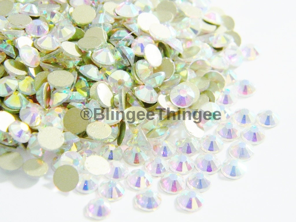 6e681834cc55 New GOLD FOILED Crystal Ab Glass Flatback Rhinestones Not
