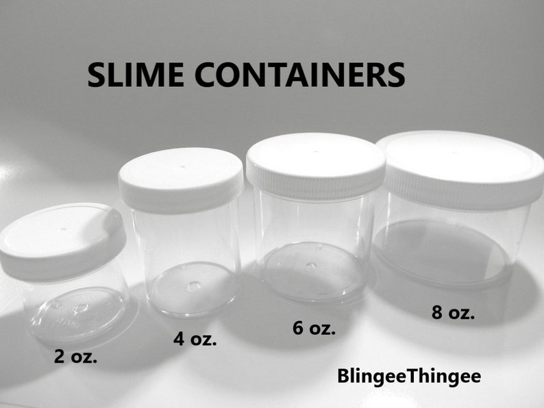 39d85d3b24e5 SLIME CONTAINERS Clear Polystyrene Wide Mouth Containers White Screw On Lid  Choose Size and Quantity 2 4 6 8 ounce 1 Container Plus 1 Lid