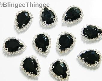 Sale JET BLACK 13x18mm Tear Drop Pear Shaped Flatback Glass Rhinestone in  Tone Claw Setting Embellishments Diy Craft Supplies e9b 2 Pieces